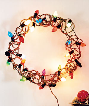 Holiday Lights as DIY Wreath