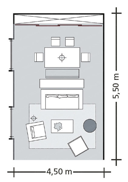 How to combine combine three rooms in one living room for Living room floor plan