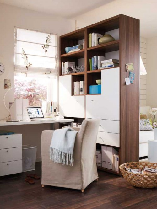 Separated Home Office In A 20 Square Meter Living Room