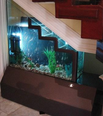 a living room staircase with a built-in aquarium is a very creative and unusual idea to use this nook