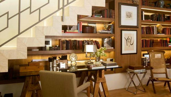 elegant dark bookshelves with built in lights will save a lot of space and will take the dead space under the stairs