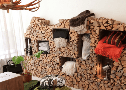 DIY Logs And Crates Storage Wall System