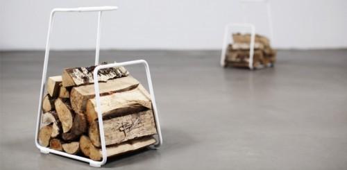 Log Wood Basket by Roshults