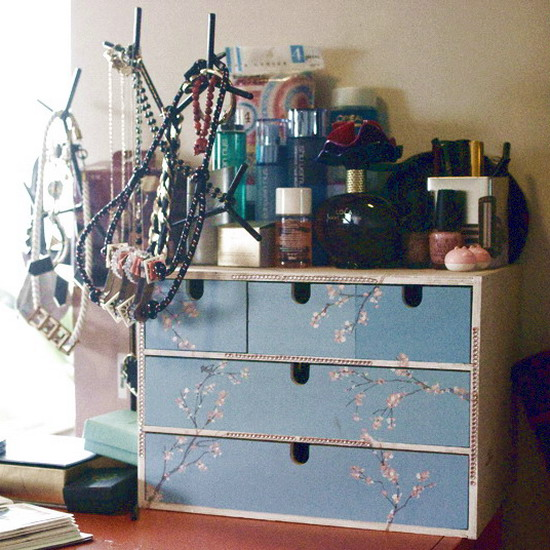 Picture of makeup storage in chest of drawers for Cool diy storage ideas