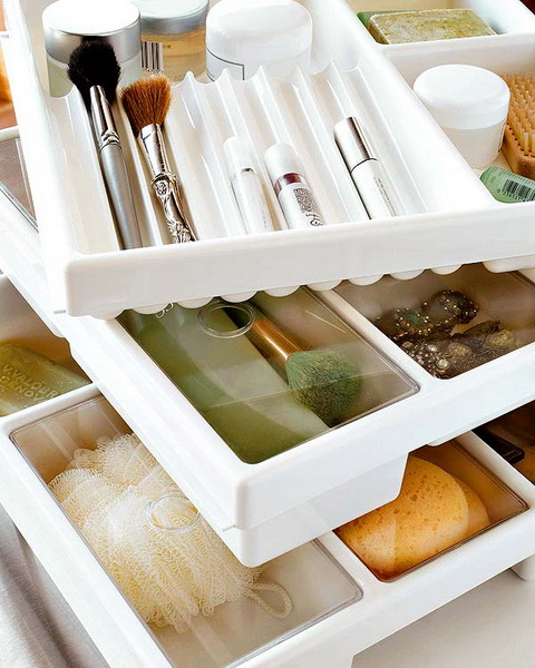 Makeup Storage In Drawer Compartments