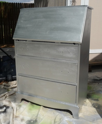 Metallic Secretary Desk During Makeover