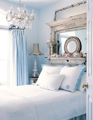 Complex Shabby Chic Mirror Headboard With Some Display Storage