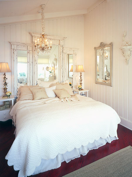 Vintage mirror bed's headboard