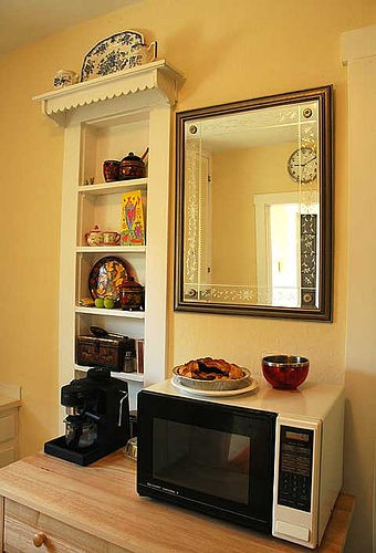 15 Ideas To Hang Mirror On A Kitchen Shelterness