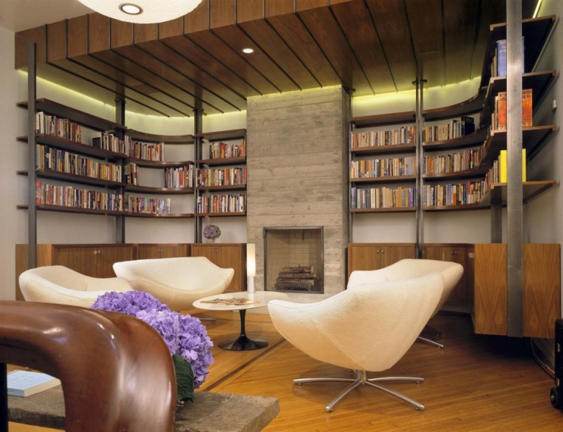Picture of modern home library design for Home library ideas design