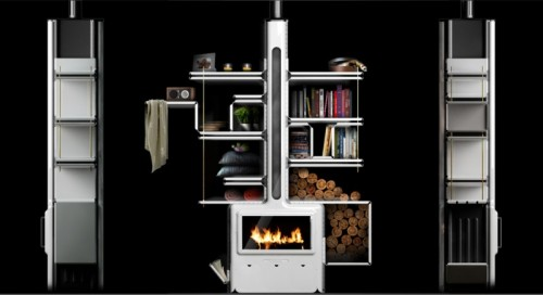 Modern Stove That Also Serves As Fireplace and Bookcase