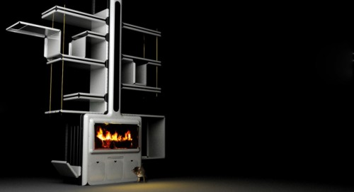 modern stove that also serves as fireplace and bookcase shelterness. Black Bedroom Furniture Sets. Home Design Ideas