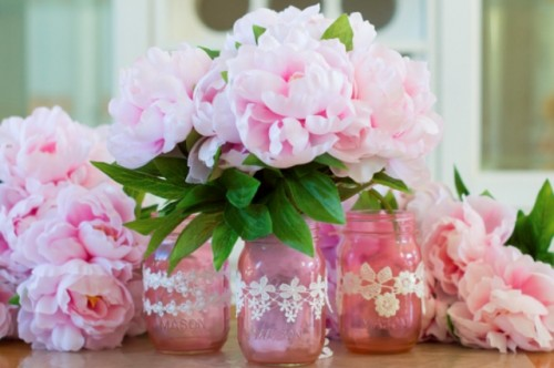 Mother's Day DIY Pink Mason Jar Vases