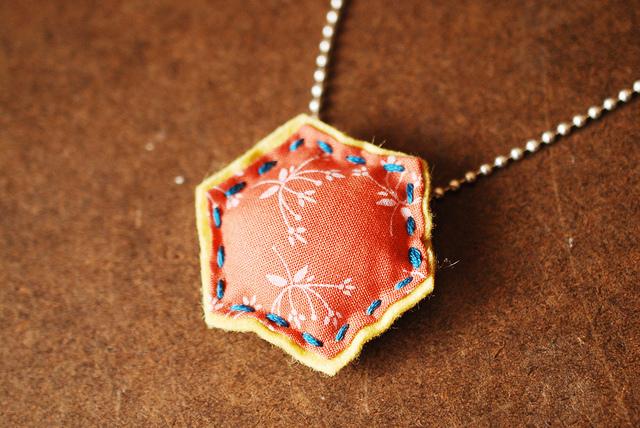 felt and fabric hexagon necklace