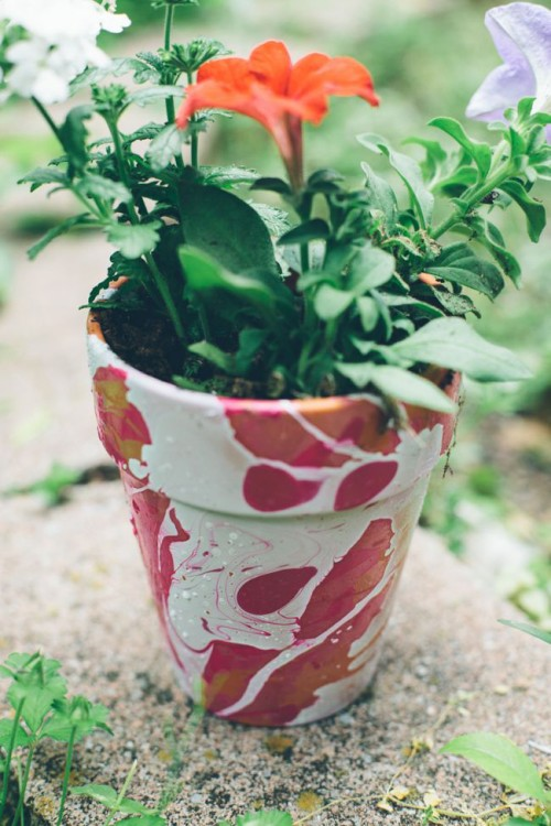 Nail Polish Marbled Diy Planters
