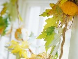 a natural leaf and pumpkin Thanksgiving garland is easy to make and it looks chic and cool, may be used in the fall, too