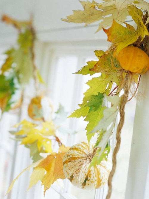 Natural Leaves And Pumpkins Thanksgiving Garland