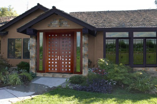 Natural Wood Front Door Design