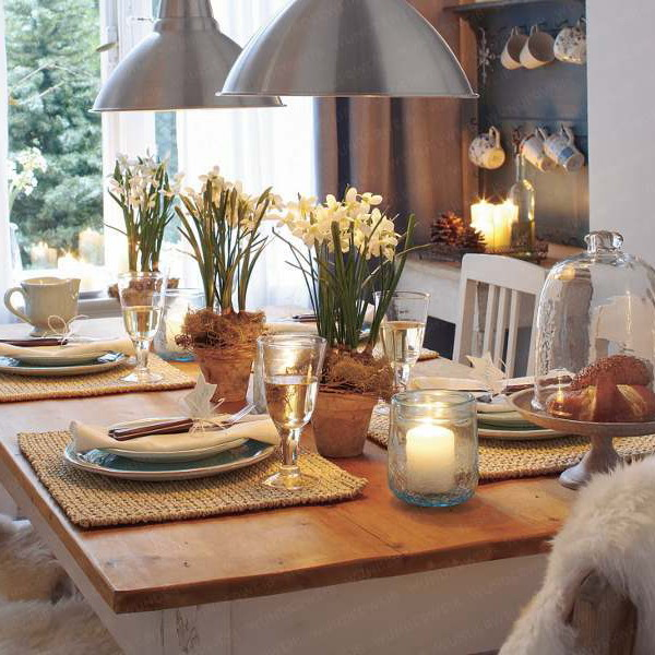 Picture of nature inspired table winter decorations
