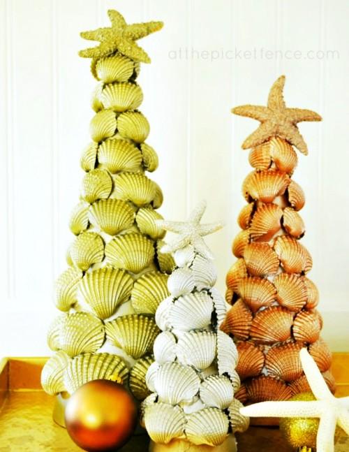 metallic shells christmas tree