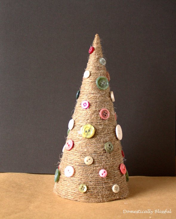 twine Christmas tree with buttons