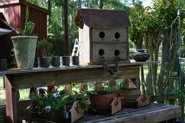 Old Potting Table In A Garden