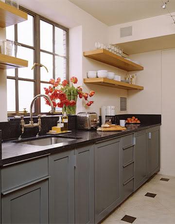 Open Shelves On A Kitchen
