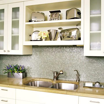 Even a kitchen cabinet could be without doors to provide some open shelving space