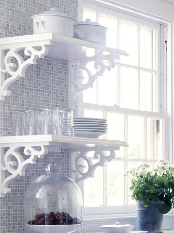 Shelf brackets could become nice decorative elements on your kitchen
