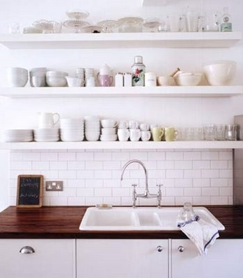 open shelving kitchen space