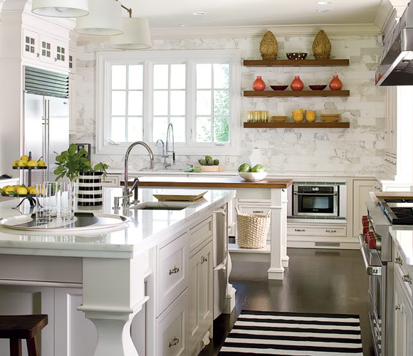Open Kitchen Shelving Design Simple But Good Example Of Floating Shelves That Show Colorful Dishes