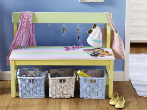 a colorful bench with pastel wicker cubbies for shoe storage is a cool idea for a kid-friendly space