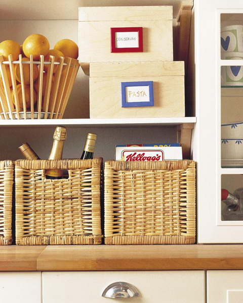 wicker cubbies can be used in your pantry for storing things, turn any open compartments into closed storage spaces