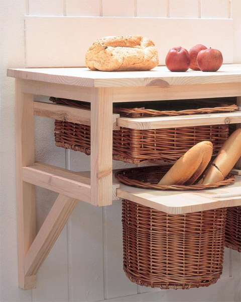wicker cubbies as drawers at various levels bring a strong cozy rustic feel to the space at once