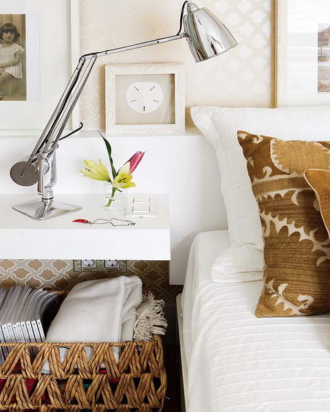 a basket with additional pillows can be placed under a nightstand to store something you need in your bedroom
