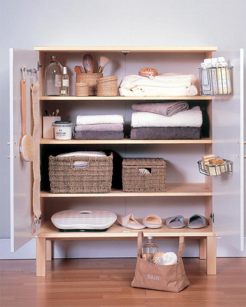 wicker cubbies with and without lids are great for adding a rustic touch to the space
