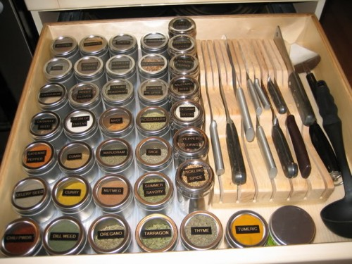Organizing spices in a drawer 8 500x375