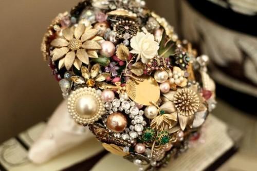 Original Brooch Bouquet Of Artificial Flowers
