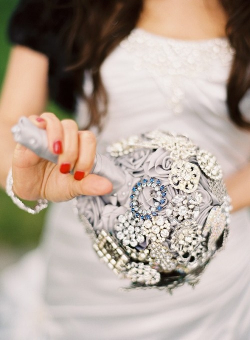 Original Brooch Bouquet Of Artificial Flowers