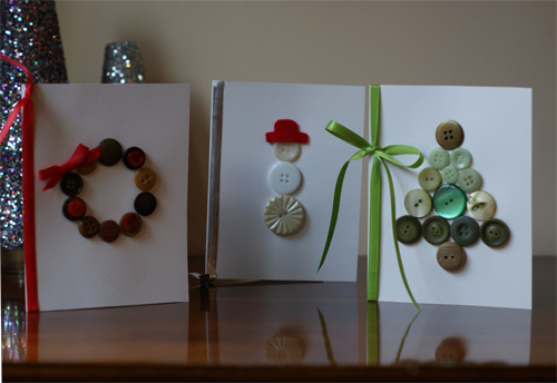 adorable button Christmas cards