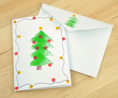 sponge stamped Christmas card (via instructables)