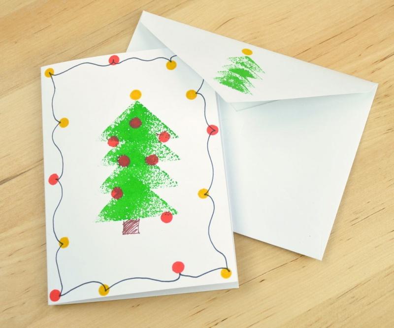sponge stamped Christmas card