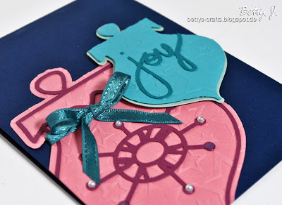 blue and pink 'Joy' card (via bettys-crafts)