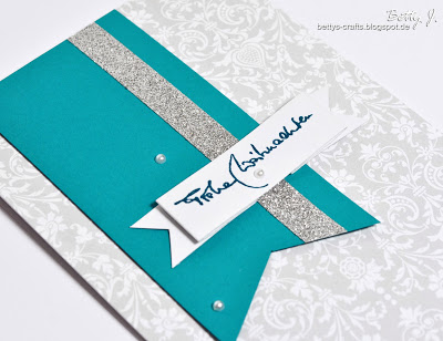 turquoise and white Christmas card