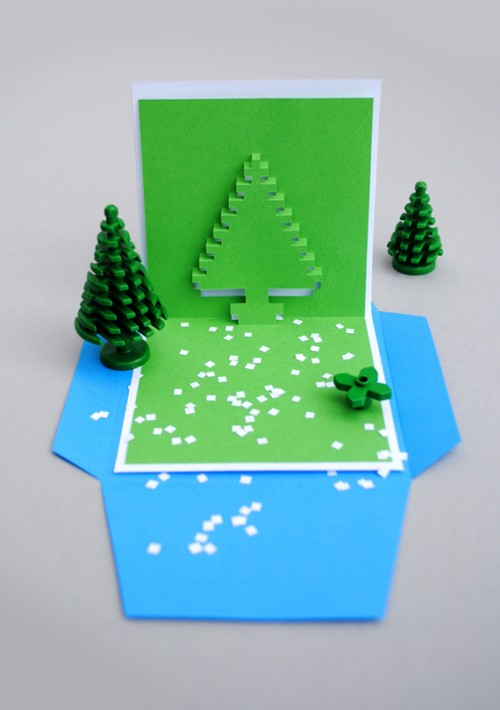 Christmas pixel pop-up cards (via minieco)