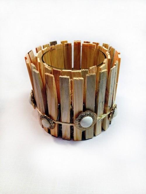 Original DIY Clothespin Candle Holder