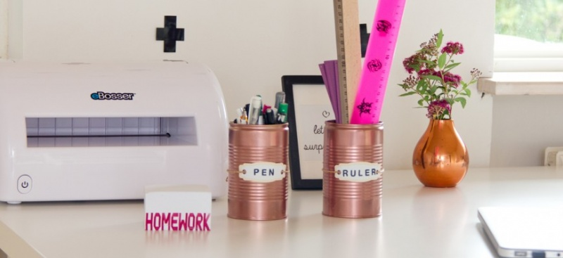copper tin can desk organizer via mmphobby