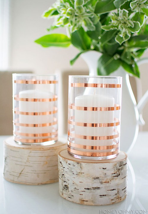 copper striped candleholders (via homeyohmy)