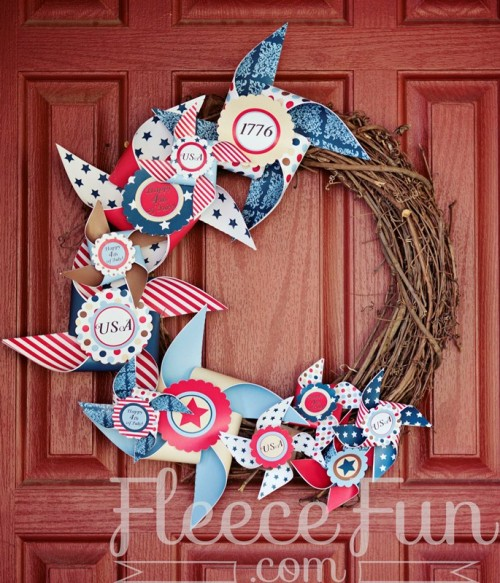 Original Diy Paper And Vine Wreath For 4th Of July