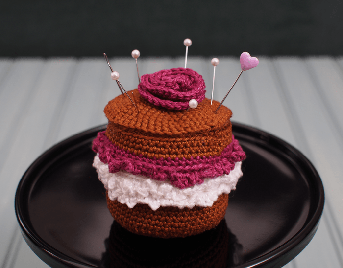 chocolate cake pincushion